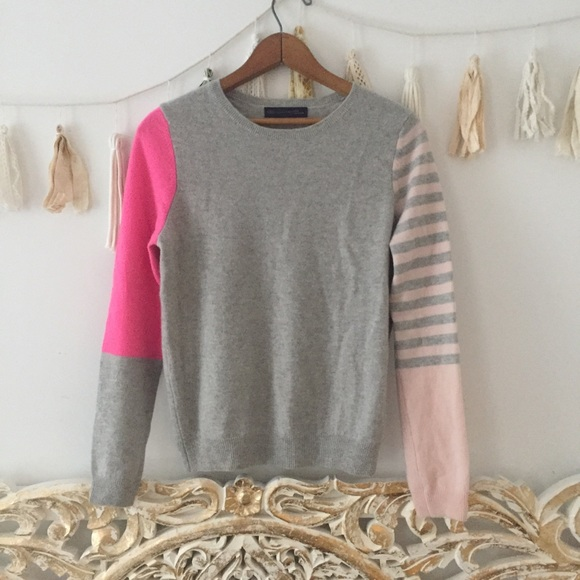 M /& S COLLECTION PURE CASHMERE CROPPED BLUE /& WHITE STRIPED CARDIGAN
